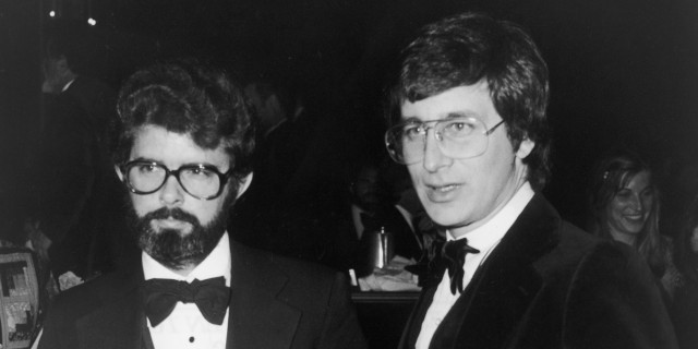 Lucas And Spielberg With Best Director Nomination Placques